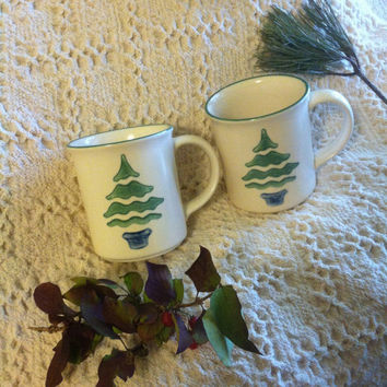 Christmas Tree Mugs Pfaltzgraff Vintage Nordic Christmas Design Set of 2 Mugs 1990s Drink Ware Winter Theme Lodge Log Cabin Dining Decor