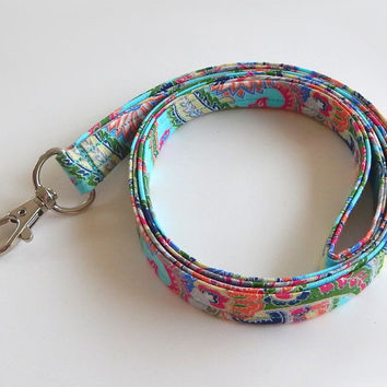Paisley Lanyard / Teal / Pretty Keychain / Floral Paisley / Colorful Lanyard / Key Lanyard / ID Badge Holder / Fabric Lanyard / Flowers