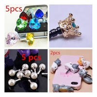 Luxury Phone Accessories Diamond Rhinestone Crystal Dust Plug Earphone Plug Crown Koala cute cat bowknot