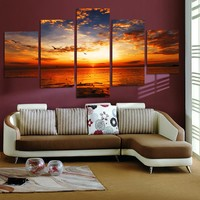 Canvas Wall Art: Sunset Sea View Wall Art on Canvas 5-Panel