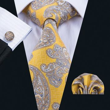 LS-1730 Barry.Wang 2017 Mens Tie Set Silk Gravata Yellow Paisley Necktie Hanky Cufflink For Wedding Business Party Free Shipping