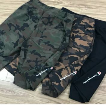 Champion champion Logo embroidered Terry shorts, shorts, cotton, leisure, camouflage, five pants, men's and women's Joker trousers.