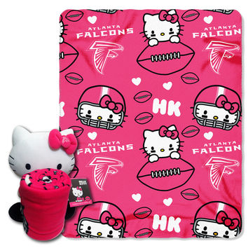 Falcons  40x50 Fleece Throw and Hello Kitty Character Pillow Set