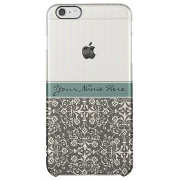 Elegant Personalized Damask and Stripes Uncommon Clearly™ Deflector iPhone 6 Plus Case