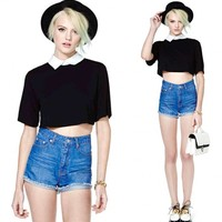 Unique New Women British style Loose Crop Tops Blouse Short Sleeve Lapel collar T-Shirt
