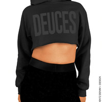 Deuces - Black with Black Cropped Hoodie