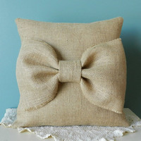 Burlap Throw Pillow with Large Bow - Decorative Pillow, Accent Pillow