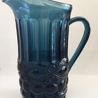 Vintage Blue Glass Pitcher, Eyewinker Pitcher, Mosser Glass, Lemonade Pitcher, Iced Tea