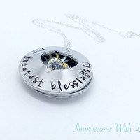 Hand stamped mothers locket clamshell crystal heart necklace personalised childrens names Mother's Day
