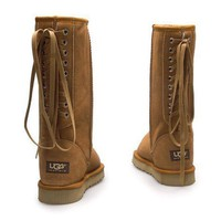 UGG Women Fashion Strappy Leather Winter Half Boots Shoes-2