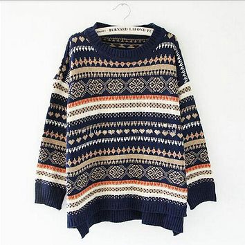 Women Sweaters And Pullovers National Wind Jacquard Hem Open Knot Sweater Woman Love Striped Snowflake Pattern Coat NM47