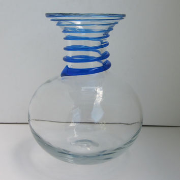 Vintage BLENKO GLASS Vase 8318 with Applied Sprial Swirl in Cobalt