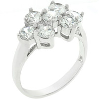 Round Cubic Zirconia Cluster Ring, size : 07