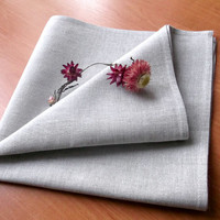 Organic cloth napkins Light grey linen cotton blend fabric Dinner table linens