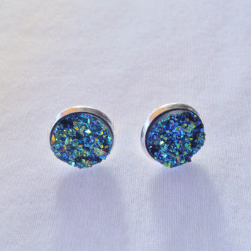 Blue Druzy Studs, Druzy Earrrings, Faux Druzy Earrings, Blue Earrings, Blue Druzy Posts, Drusy Earrings, Druzy Jewelry, Studs, Druzy Studs
