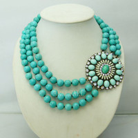 turquoise necklacebubble necklacebeadwork by Arkpearl on Etsy