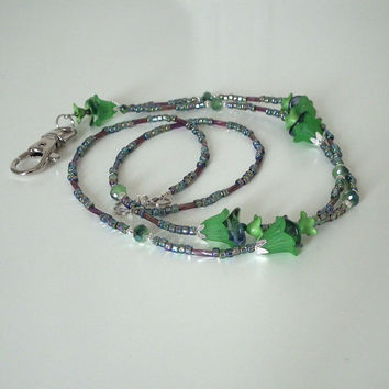 Beaded ID Badge Lanyard, Green Lucite Flowers, Silver