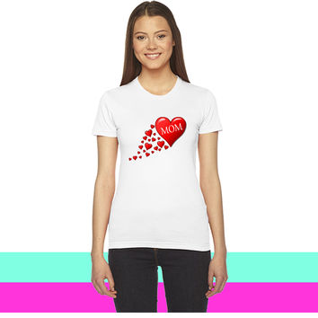 Mom in a flow of hearts_ women T-shirt