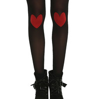 Black Sheer Heart Knee Tights