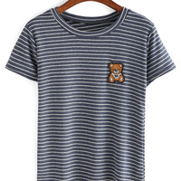 Bear Embroidery Patch Striped T-shirt