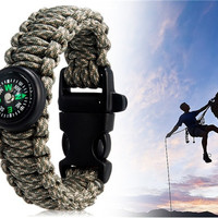 Multifunctional Outdoor Survival Wrist Strap Bracelet with Compass (Forest Camouflage)