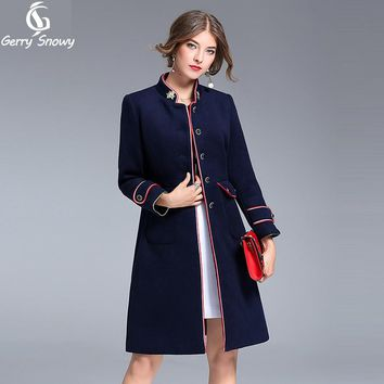 Winter coat women 2017 new Women's autumn jackets COTTON+WOOL coat women Bee embroidery Maindrin collar long coat dark blue