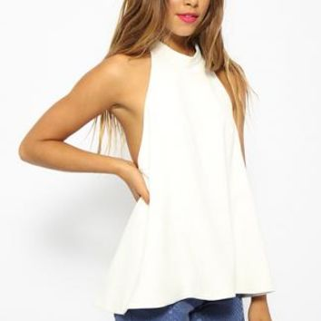 Meeko Halter Top - White