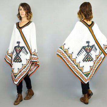 vintage 1970's knitted THUNDERBIRD boho hippie native SOUTHWESTERN PONCHO cape coat, one size fits all