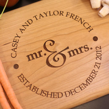 Personalized Cutting Board Newlyweds Christmas Gift Bridal Shower Gift Wedding Gift Engraved (Item Number MHD20015)