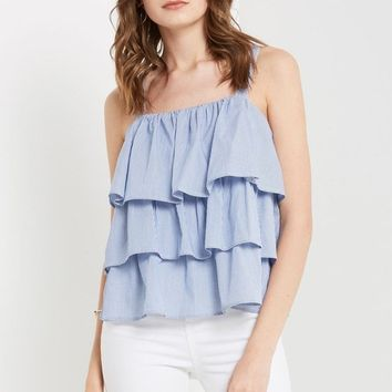 Blue Embry Striped Bow Back Top
