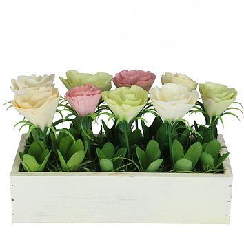 """9.5"""" Colorful Springtime Artificial Flowers in Small Decorative Flower Pot"""
