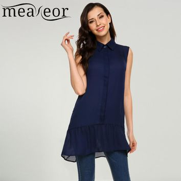 Meaneor Women Sleeveless Chiffon Blouse Shirt Turn Down Collar Front Button Pleated Hem Loose Long Blouses Summer Female Tops