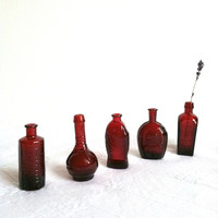 Set of 5 - Vintage Wheaton Mini Bottles/Ruby Red/Cottage Style/Colonial Decor - Ca. 1960's - 1970's