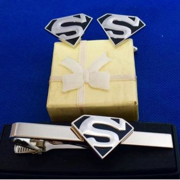 Superman Silver and Black Logo Tie Clip with Matching Cufflinls~Handmade in the USA~FAST Shipping from the USA