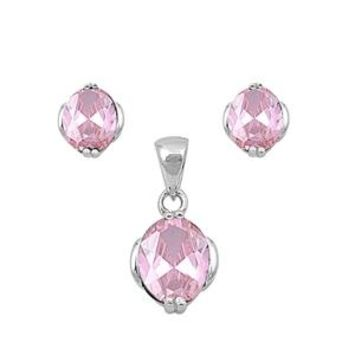 Perfect Oval Cut Pastel Pink Earring and Necklace Set