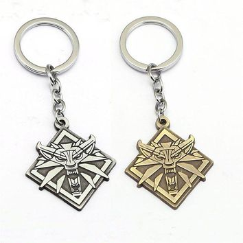 Game The Witcher 3 Wolf Head Matel Keychain The Wild Hunt Key Chain Ring Boy Men Gift Jewelry Souvenir Chaveiro Sleutelhanger