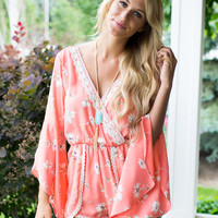 My Cup of Tea Romper Coral