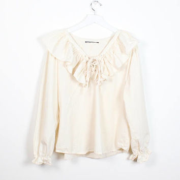 Vintage Soft Grunge Blouse 1990s Lace Up Front Romantic Ruffle Collar Puffy Shirt Cream Ivory Boho Long Sleeve Hippie Peasant Top L Large XL