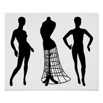 Mannequin body wire dress form silhouette art poster
