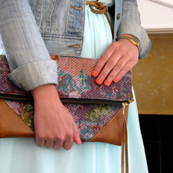 Floral Lilac Watercolor Clutch with Distressed Leather Detail -  el Hustle