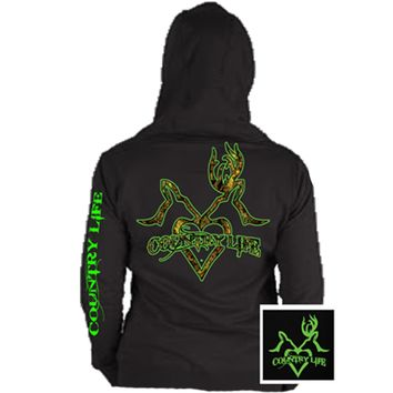 Country Life Outfitters Black & Green Deer Kiss Heart Love Hunt Bright Hoodie