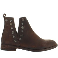 Musse & Cloud Roaster - Brown Distressed Leather Embellished Short Pull-On Bootie