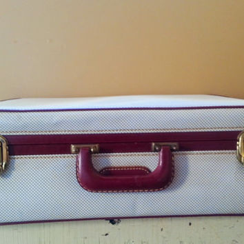 Vintage White Leather Suitcase Cordovan Trim Deep Red Satin Lining