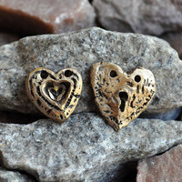 PURE BRONZE pendant  special tiny hearts    jewelry by CoolVintage
