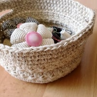 OOAK Crochet Basket, Handmade Soft Basket, Jewelry Dish Storage, Beige Basket with Handles, Storage containers, Organizer, Ready to Ship