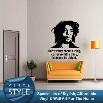 Q044 BOB MARLEY DONT WORRY 3 LITTLE BIRDS LYRICS STICKER WALL ART FREE SHIPPING