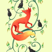 """Bunnies And A Fox"" - Art Print by Indré Bankauskaité"