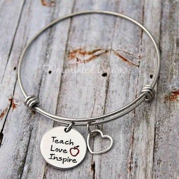 Teacher - Wire Bangle Bracelet - Teach Love Inspire - Hand Stamped - Wire Bangle - Adjustable - Apple - Teacher Jewelry - Charm Bracelet