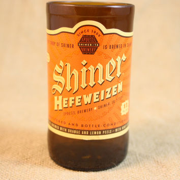 Drinking Glasses from Recycled Shiner Hefeweizen Beer Bottles, 8 oz, Unique Barware, Unique Gift, ONE glass