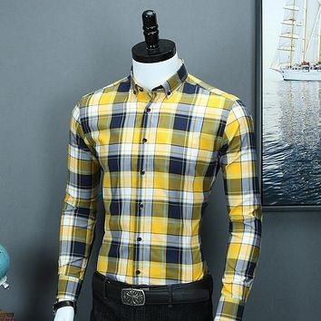 Men's Stylish Long Sleeve Contrast Plaid Dress Shirt Casual Standard-fit Button-down Collar Pure Cotton Multi Gingham Shirts